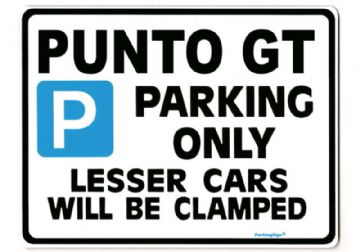 PUNTO GT Large Metal ParkingSign for FIAT Turbo Gift
